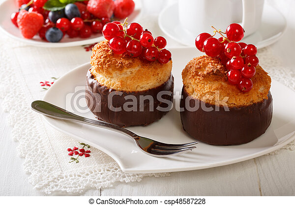 Beautiful Chocolate Coconut Muffins With Currant Close Up