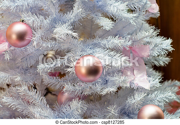 Beautiful Christmas background with white tree - csp8127285