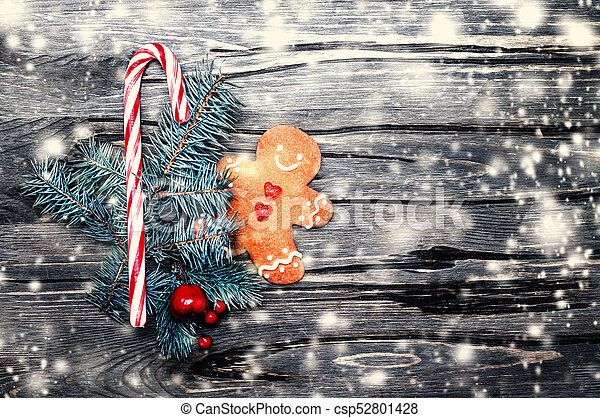 Beautiful Christmas Background.Beautiful Christmas Background With Gingerbread Cookie Creativ Holiday Decorations And Snow Copy Space