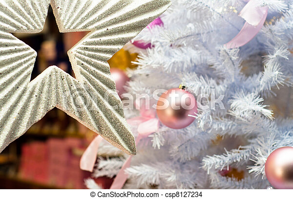 Beautiful Christmas background with white tree - csp8127234