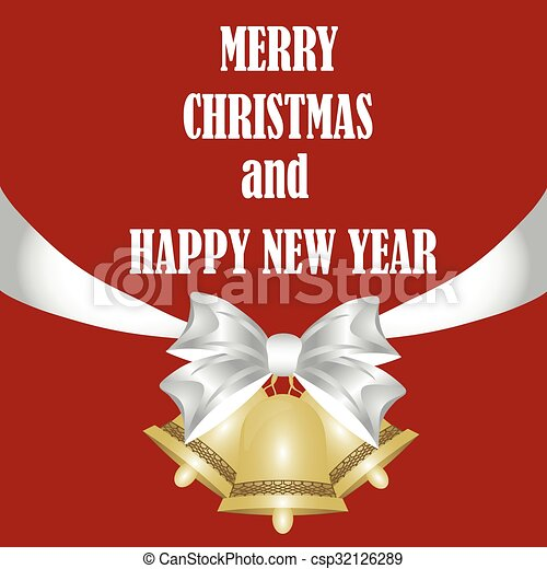 beautiful Christmas card with bells and ribbons - csp32126289