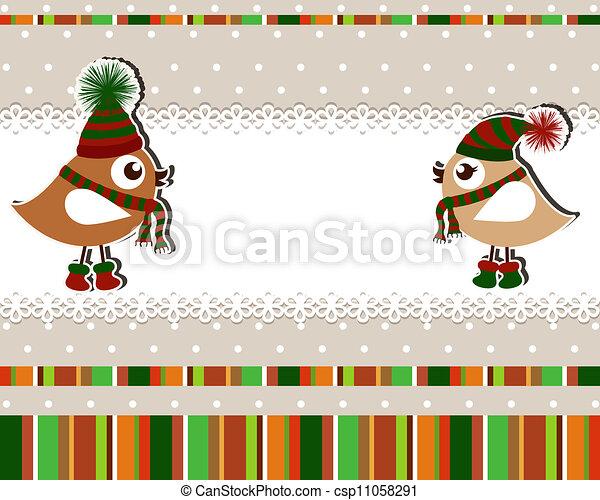 Beautiful Christmas card with birds - csp11058291