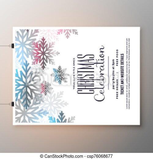 beautiful christmas celebration flyer with snowflakes template design - csp76068677