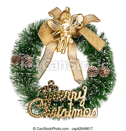 Beautiful Christmas crown isolated on white background - csp42649617