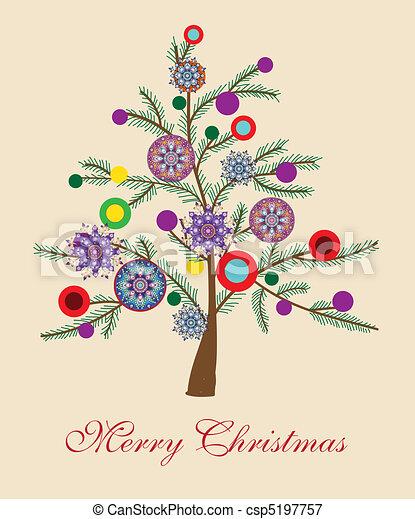 Beautiful Christmas Tree Illustration Christmas Card