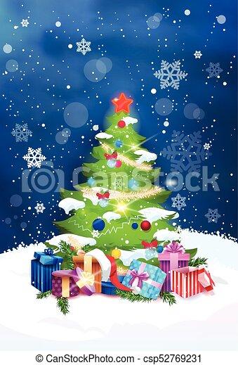 Beautiful Christmas.Beautiful Christmas Tree Night View Over Blue Sky With Snowflakes