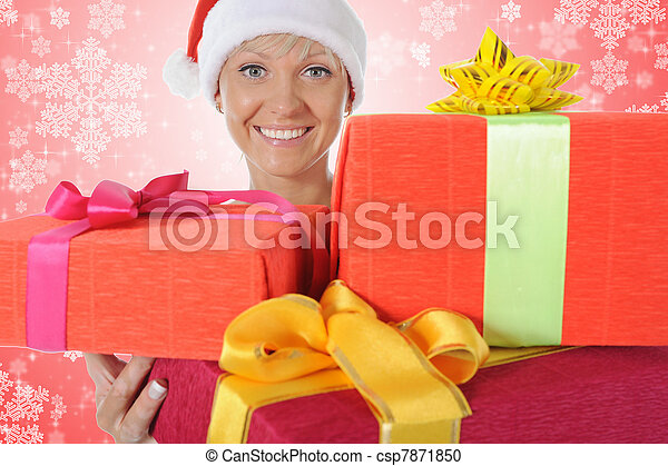Beautiful christmas woman. - csp7871850