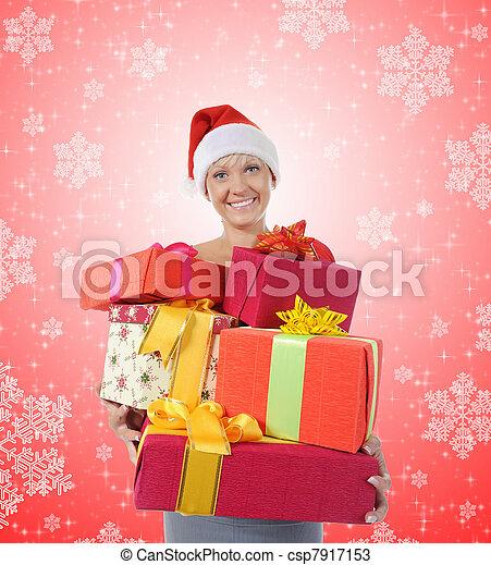 Beautiful christmas woman. - csp7917153