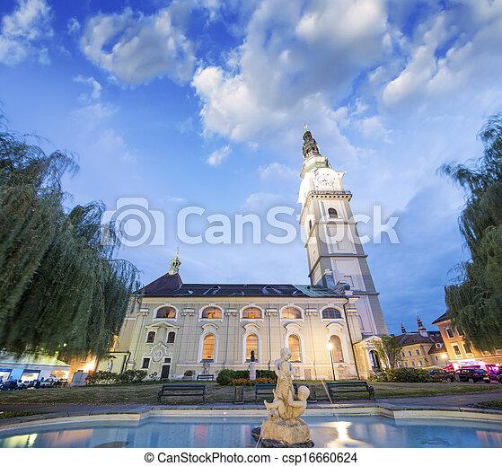 Beautiful Church and square of Klagenfurt, Austria - csp16660624