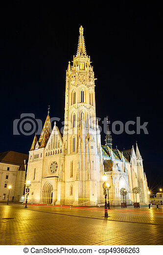 Beautiful church of St. Matthias with night illumination. Budapest - csp49366263