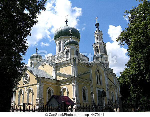 Beautiful church on a background of the blue sky - csp14479141