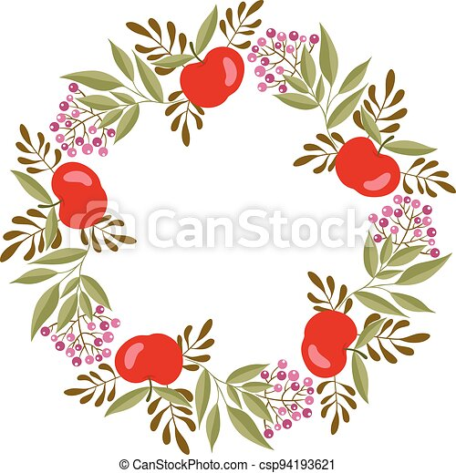 Beautiful circle frame made with apples - csp94193621