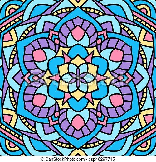 Beautiful circular pattern. Unusual background mandala. - csp46297715