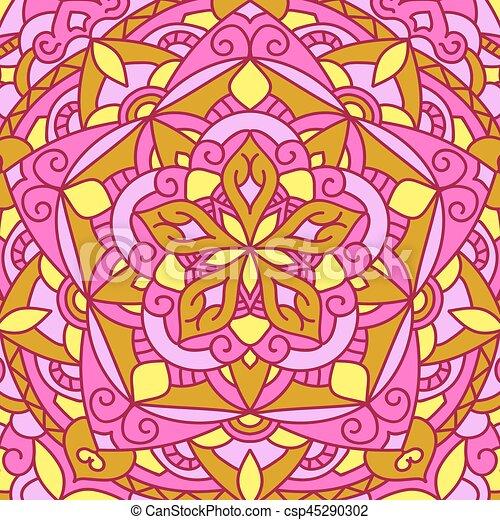 Beautiful circular pattern. Unusual background mandala. - csp45290302