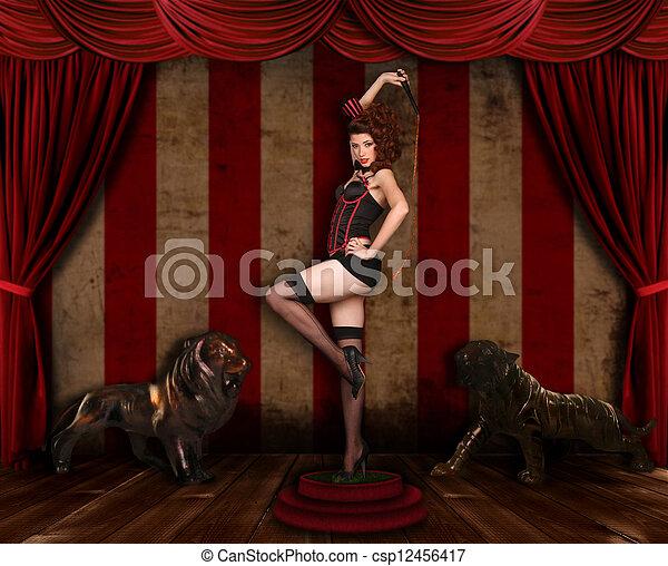 Beautiful Circus Themed Pin Up Sexy Girl - csp12456417