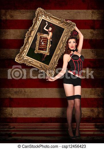 Beautiful Circus Themed Pin Up Sexy Girl - csp12456423