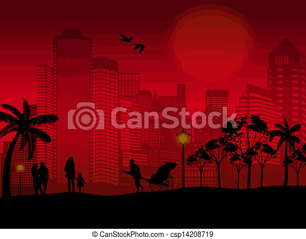 Beautiful cityscape and people silhouette  - csp14208719