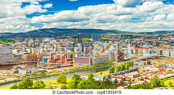 Beautiful cityscape of Oslo on a summer day, Norway - csp81933419