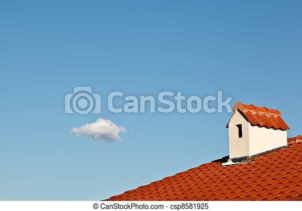 Beautiful Cloud and Dormer Window with Red Tiled Roof - csp8581925