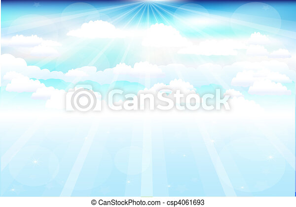 Beautiful Clouds With Rays - csp4061693