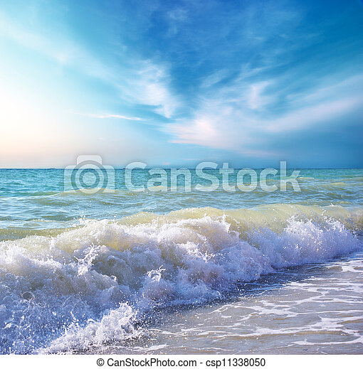 Beautiful coast of beach at day. Nature composition. - csp11338050