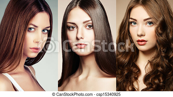 Beautiful collage , faces of women - csp15340925