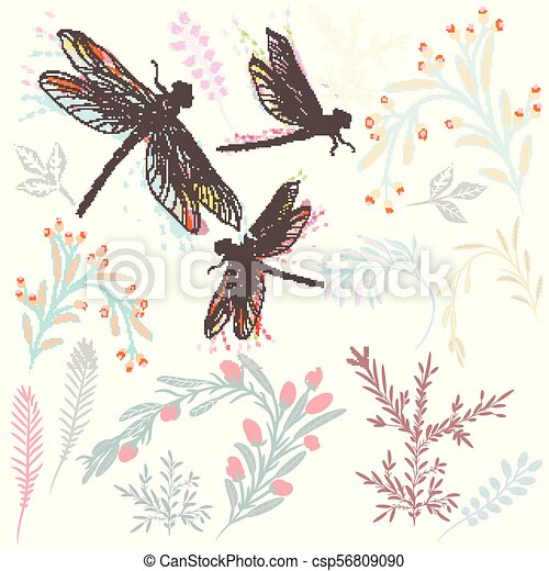 Beautiful collection of vector spring florals and dragonfly - csp56809090