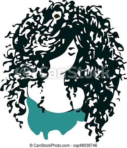 Beautiful Curly Hair Girl Logo Beauty Salon Or Hair