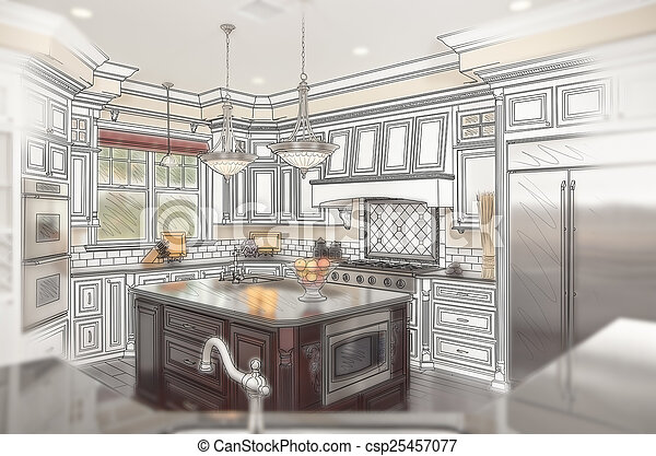 Beautiful Custom Kitchen Design Drawing with Ghosted Photo Behin - csp25457077