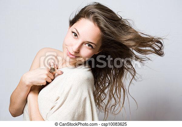 Beautiful cute young brunette. - csp10083625