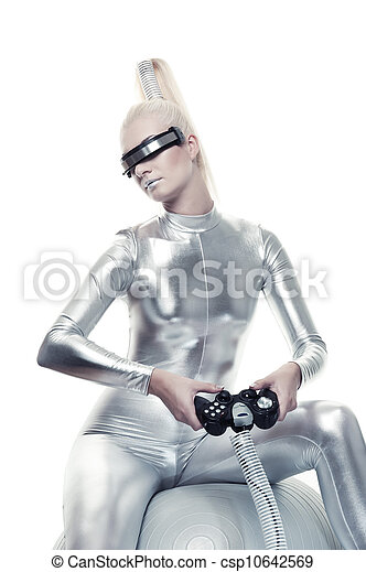 Beautiful cyber woman playing video game - csp10642569