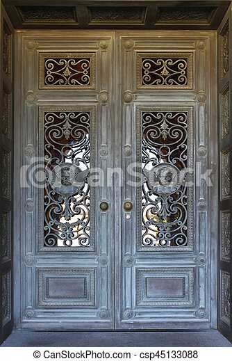 Beautiful door in Mission church at Stanford University in California - csp45133088