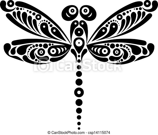 Beautiful dragonfly tattoo. Artistic pattern in butterfly shape. Black and white illustration - csp14115074