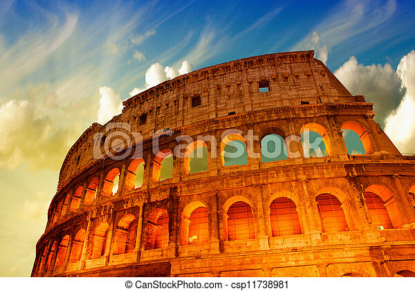 Beautiful dramatic sky over Colosseum in Rome - csp11738981