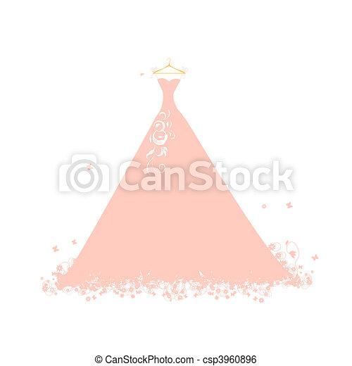 Beautiful dress pink on hangers - csp3960896