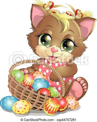 beautiful Easter kitten - csp44707281