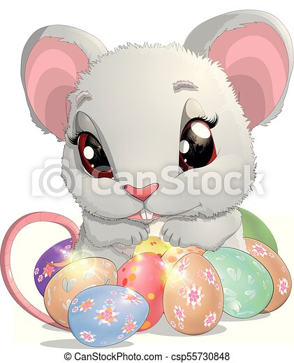 beautiful Easter mouse - csp55730848