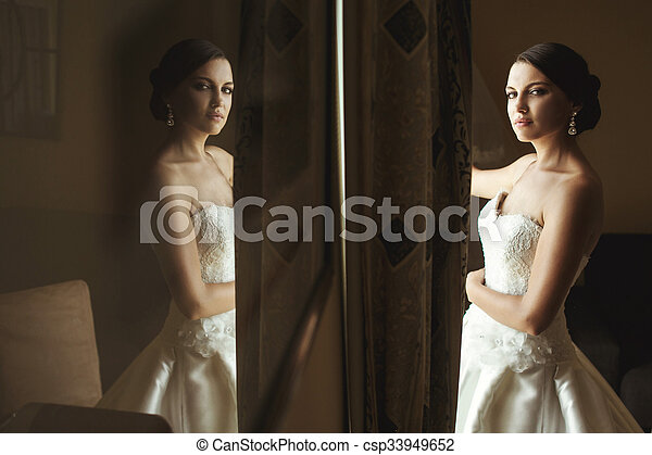 Beautiful Emotional French Brunette Bride Reflection In Picture Frame Csp33949652