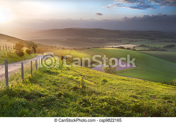 Beautiful English countryside landscape over rolling hills - csp9822165