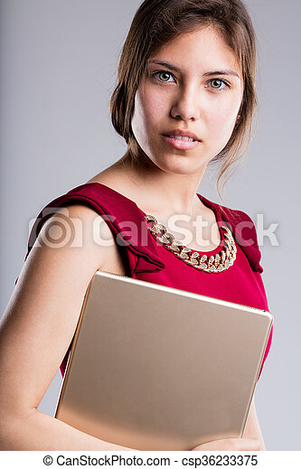 beautiful eyes business woman portrait with tablet - csp36233375
