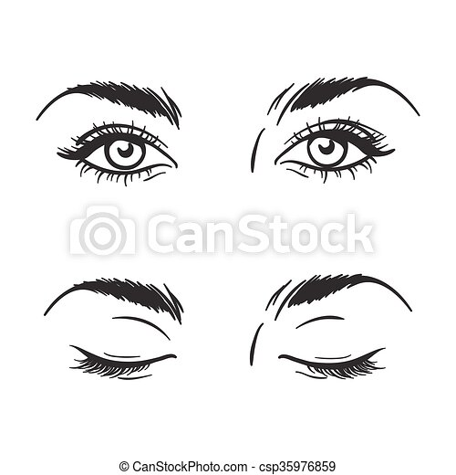 Beautiful Eyes Open Closed Vector Isolated Black And White