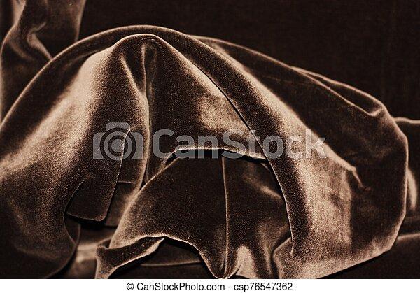Beautiful fabric brown velvet close up view - csp76547362
