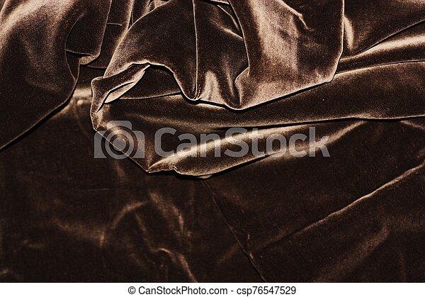 Beautiful fabric brown velvet close up view - csp76547529