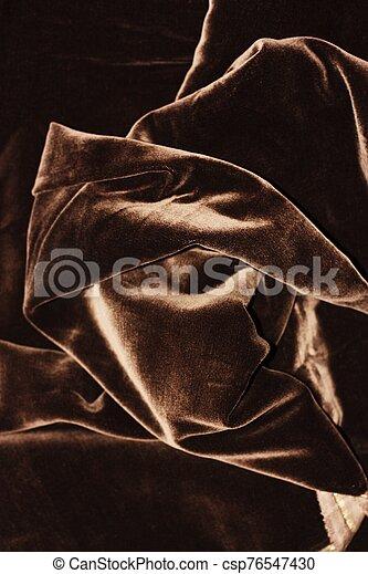 Beautiful fabric brown velvet close up view - csp76547430