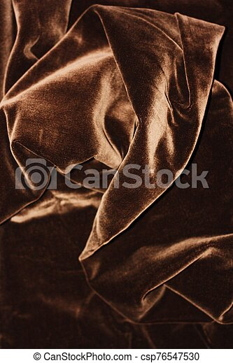 Beautiful fabric brown velvet close up view - csp76547530