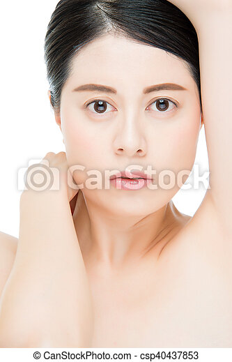 Portrait of a Young Adult Woman, Touching her Face, Looking Up, Side View