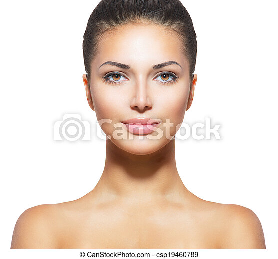 Beautiful Face of Young Woman with Clean Fresh Skin  - csp19460789
