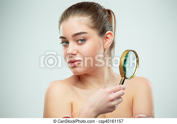 Beautiful Face of Young Woman with Clean Fresh Skin - csp45161157