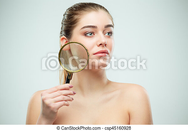 Beautiful Face of Young Woman with Clean Fresh Skin - csp45160928