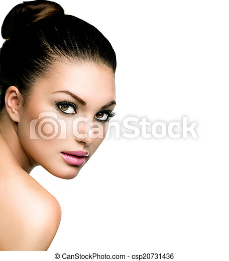 Beautiful Face of Young Woman with Clean Fresh Skin - csp20731436